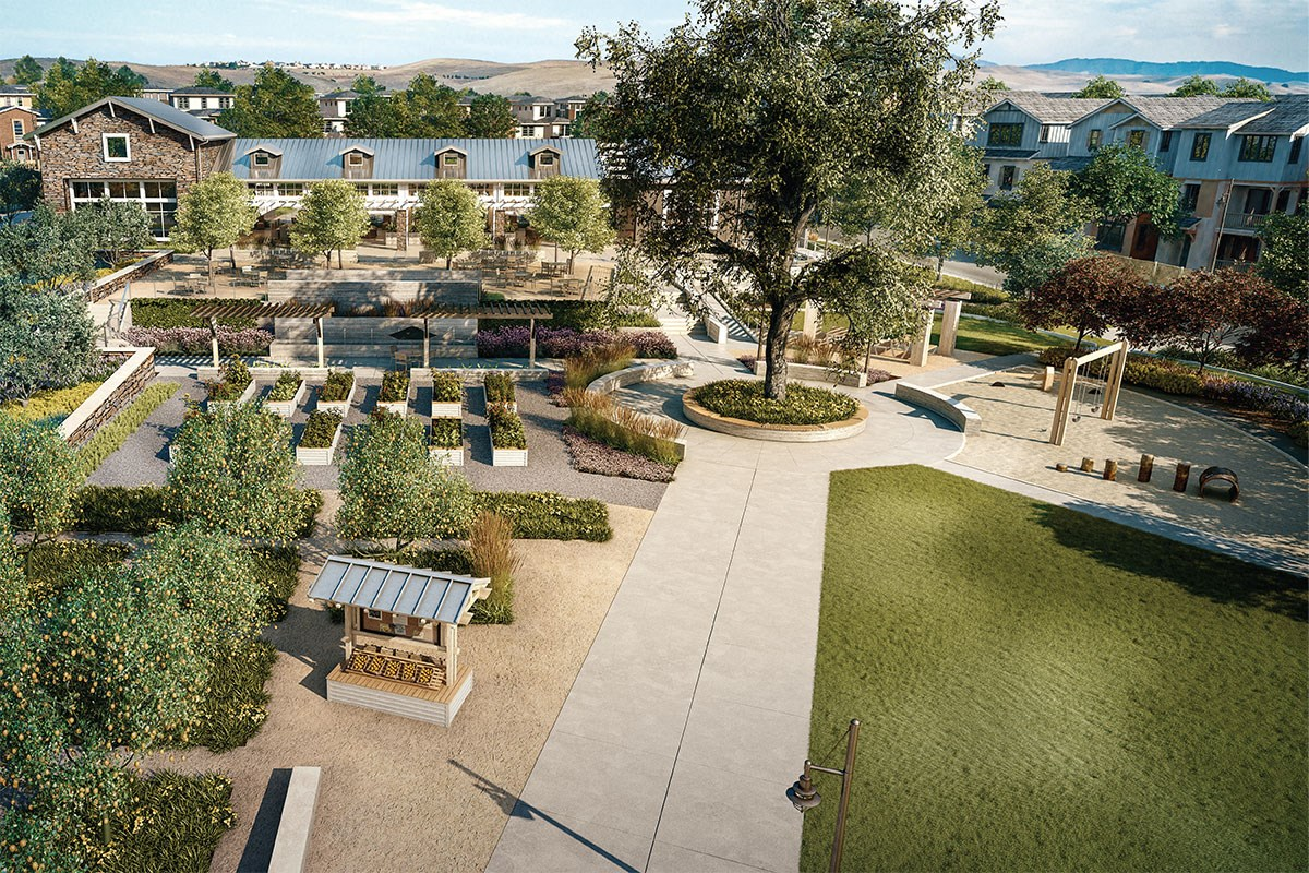 New Homes in Dublin, CA - Riverton at Wallis Ranch Kindred House Shared Gardens and Playground
