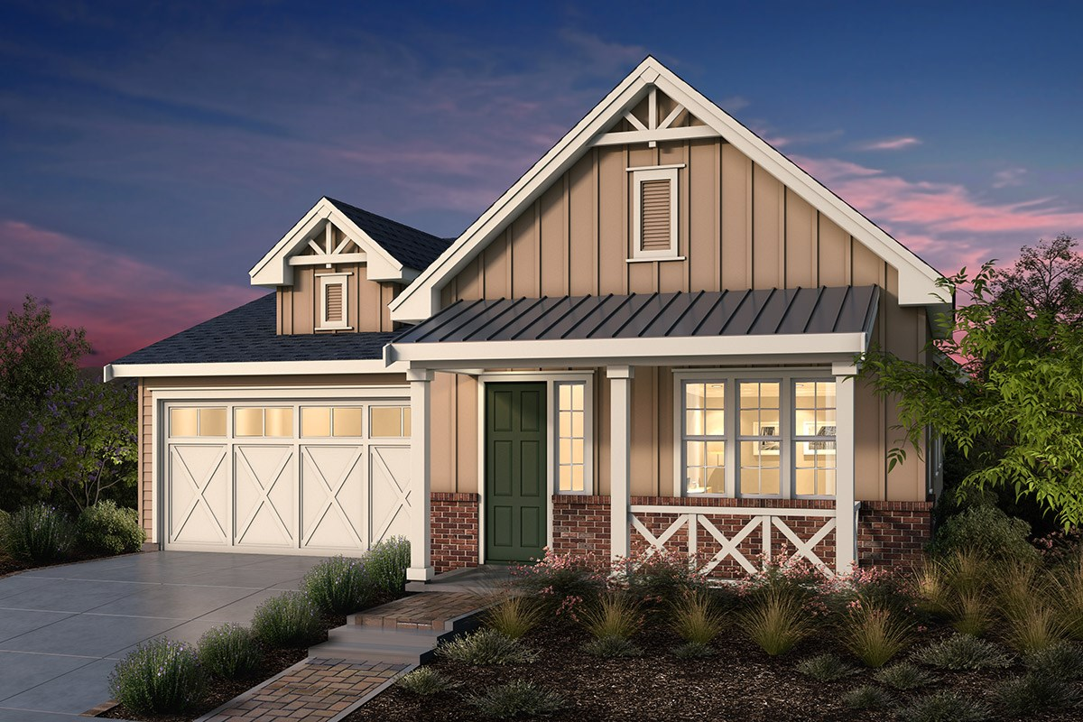 New Homes in Fremont, CA - Windrose at Patterson Ranch Plan 1 Farmhouse Elevation