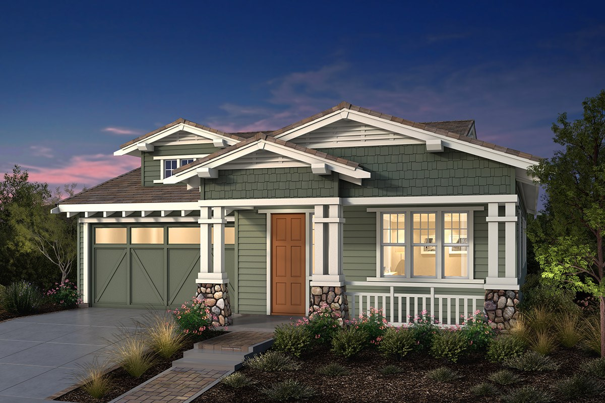 New Homes in Fremont, CA - Windrose at Patterson Ranch Plan 1 Craftsman Elevation