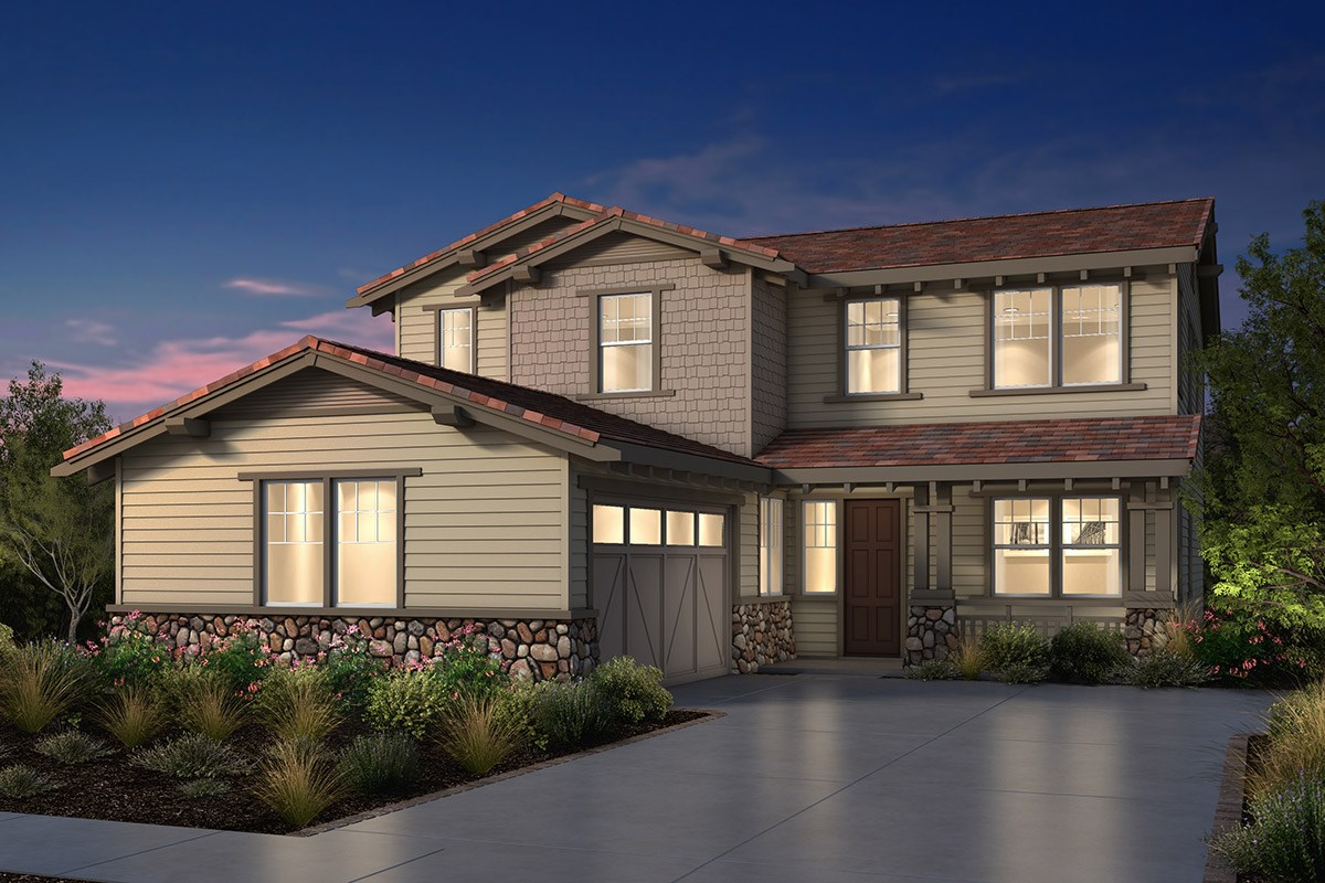 New Homes in Fremont, CA - Windrose at Patterson Ranch Plan 3 Craftsman Elevation