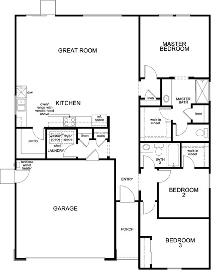 New Homes in Fresno, CA - Plan 1557, First Floor