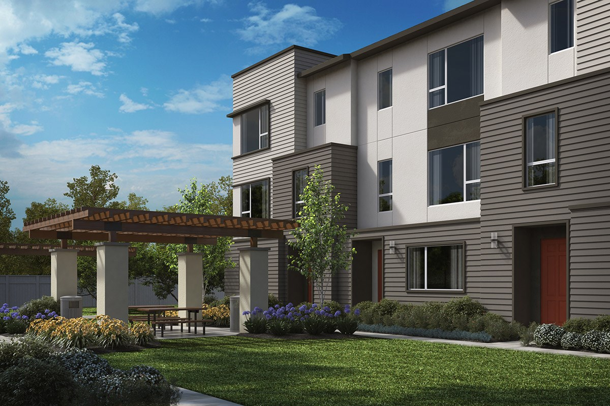 New Homes in Downey, CA - Centerpointe Exterior rendering of proposed BBQ area
