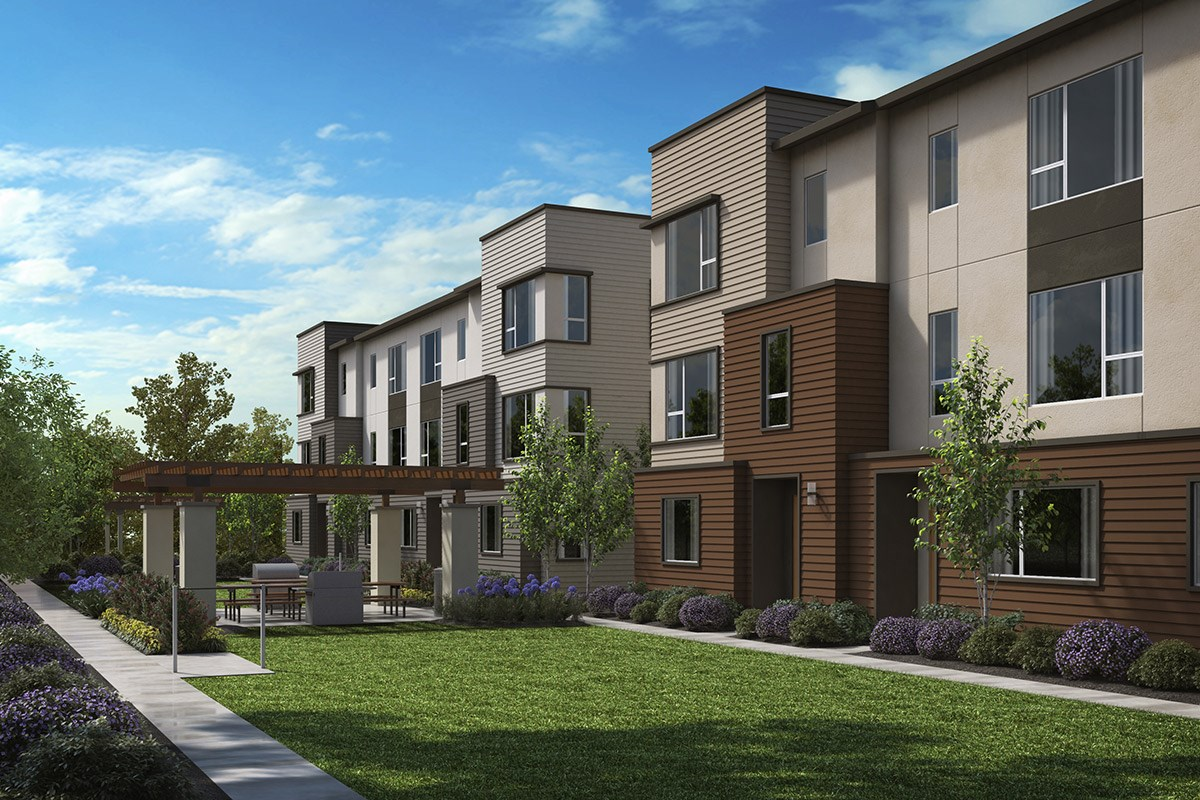 New Homes in Downey, CA - Centerpointe Exterior rendering of proposed BBQ / common area