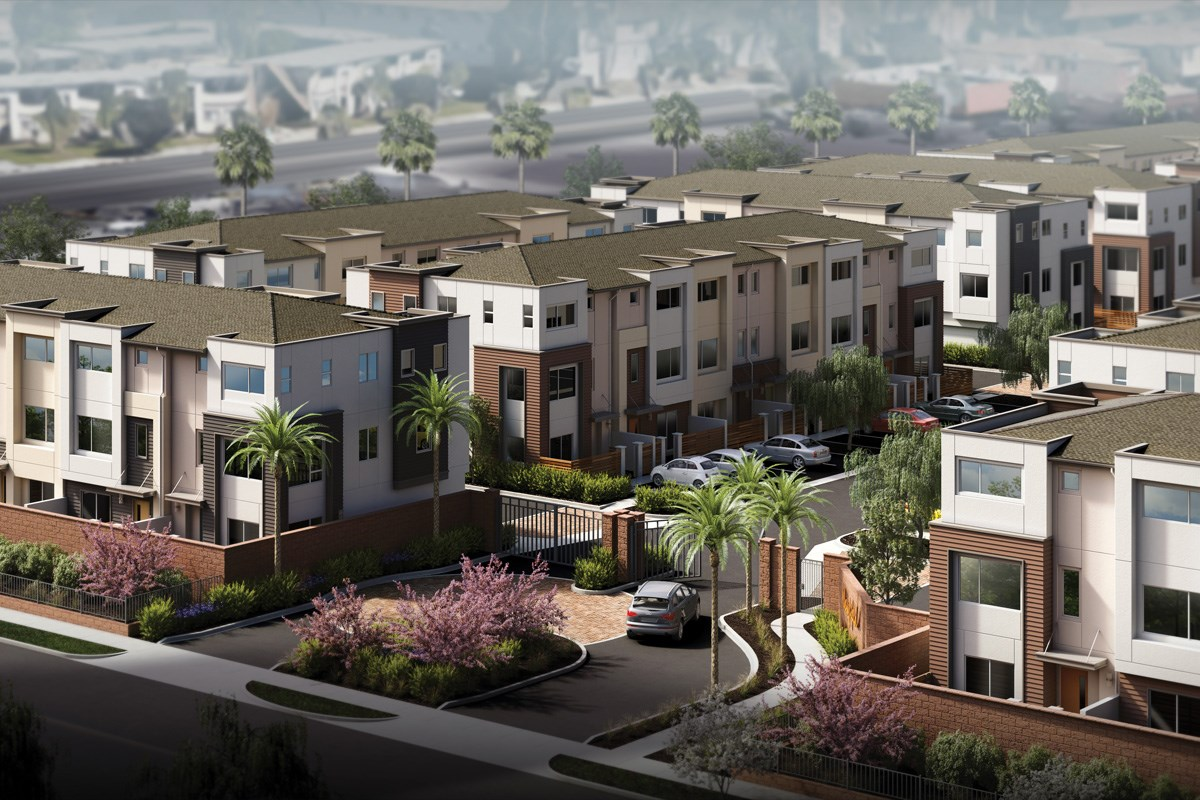 New Homes in Gardena, CA - Newfield Aerial Rendering