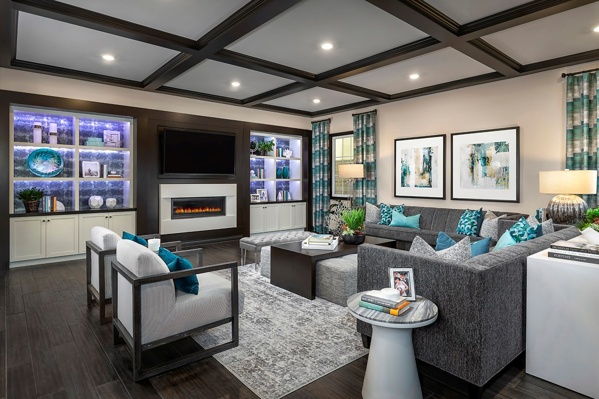 New Homes in Irvine, CA - Genoa at Orchard Hills Residence Three Great Room Media Center