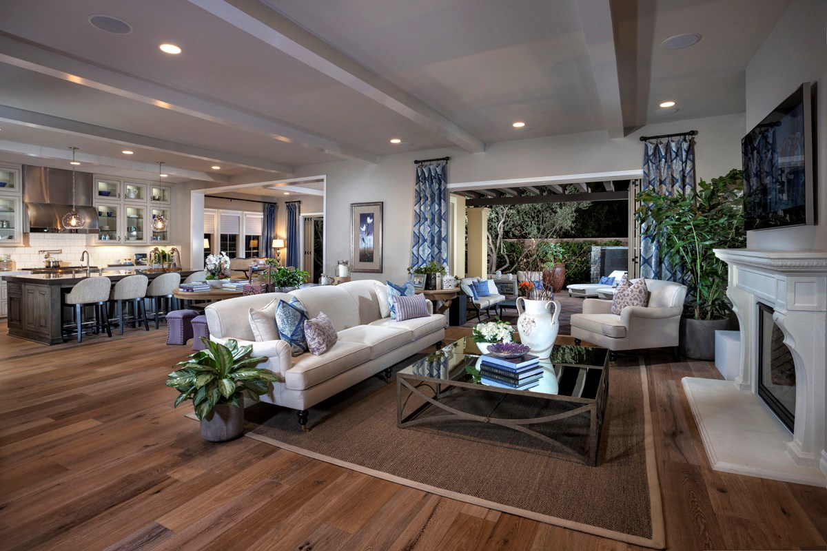 New Homes in Irvine, CA - Vicenza at Orchard Hills Residence One - Great Room Bi-Fold Doors Open