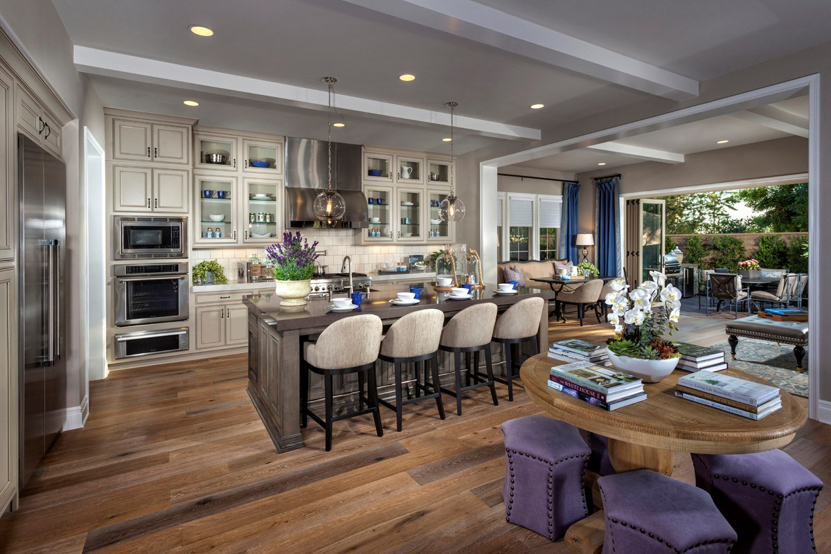 New Homes in Irvine, CA - Vicenza at Orchard Hills Residence One - Kitchen/Conservatory Bi-Fold Doors Open