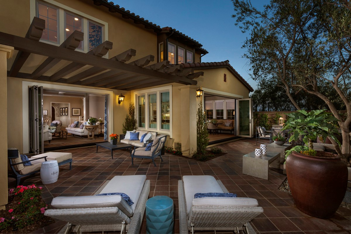 New Homes in Irvine, CA - Vicenza at Orchard Hills Residence One - Patio Bi-Fold Doors Open