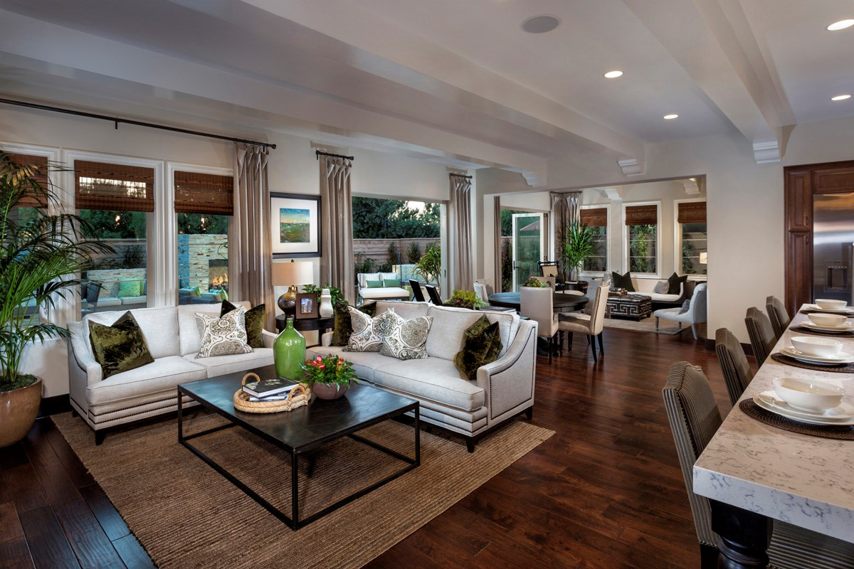New Homes in Irvine, CA - Vicenza at Orchard Hills Residence Two - Great Room Bi-Fold Doors Open