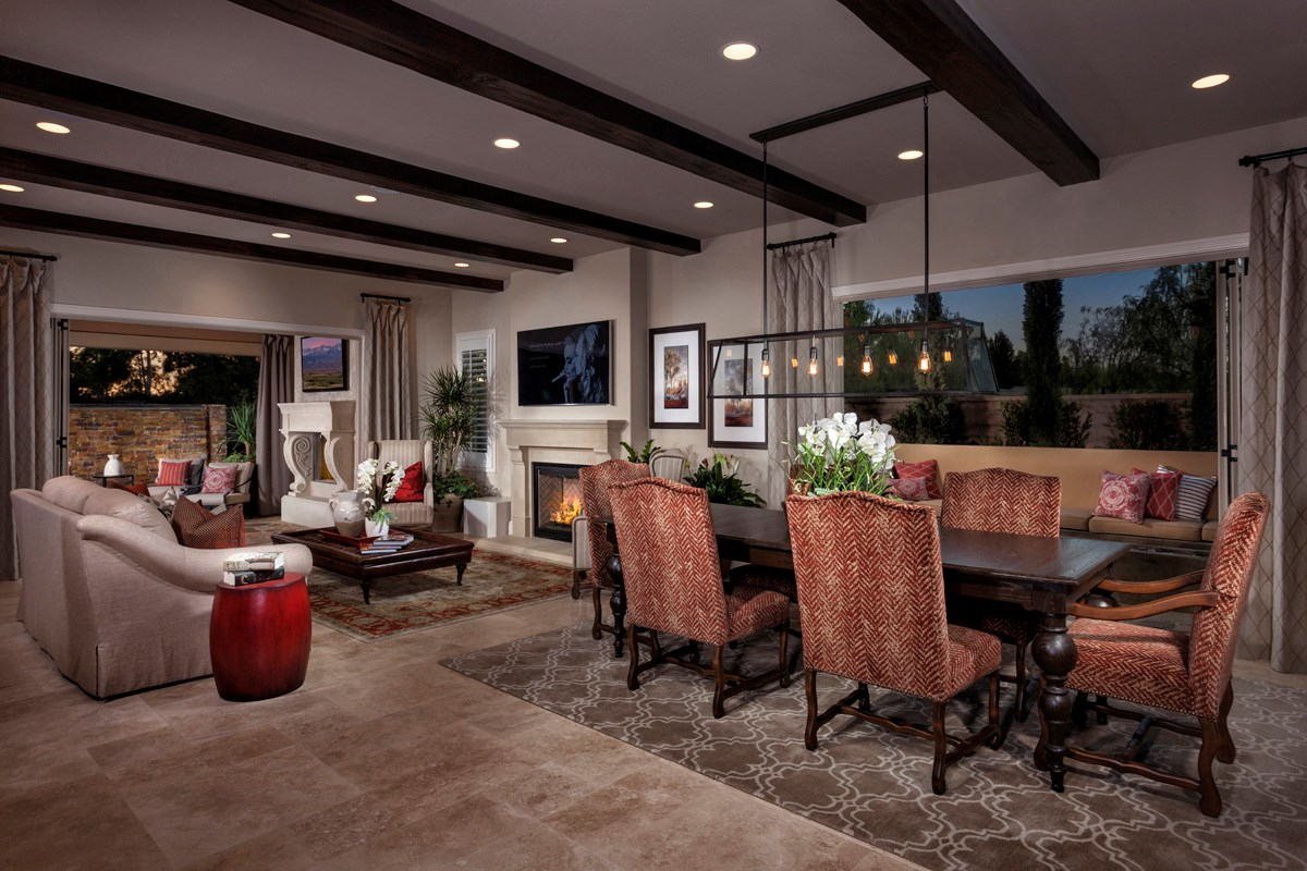 New Homes in Irvine, CA - Vicenza at Orchard Hills Residence Three - Great Room Bi-Fold Doors Open