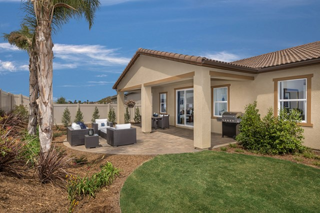 Rear patio at a KB Home community in Menifee, CA
