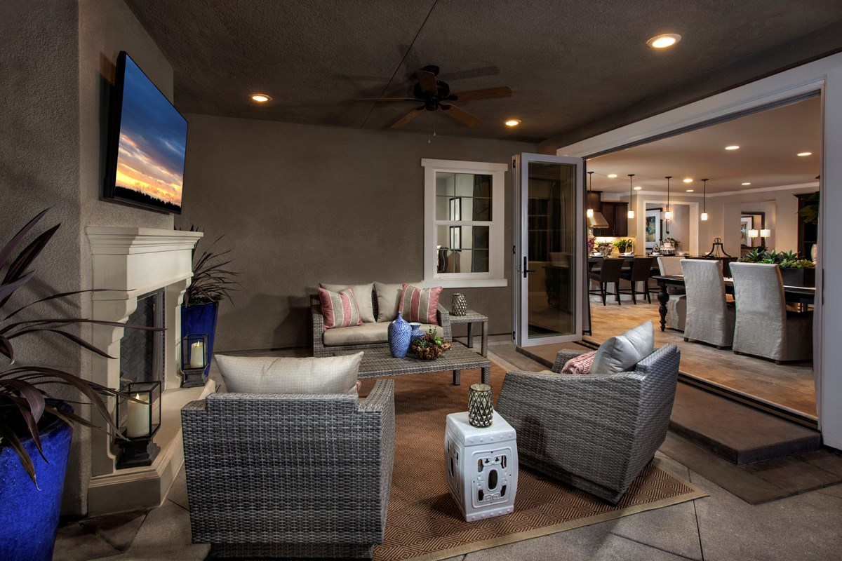 New Homes in Rancho Cucamonga, CA - La Ventana Residence 3620 - Patio doors open