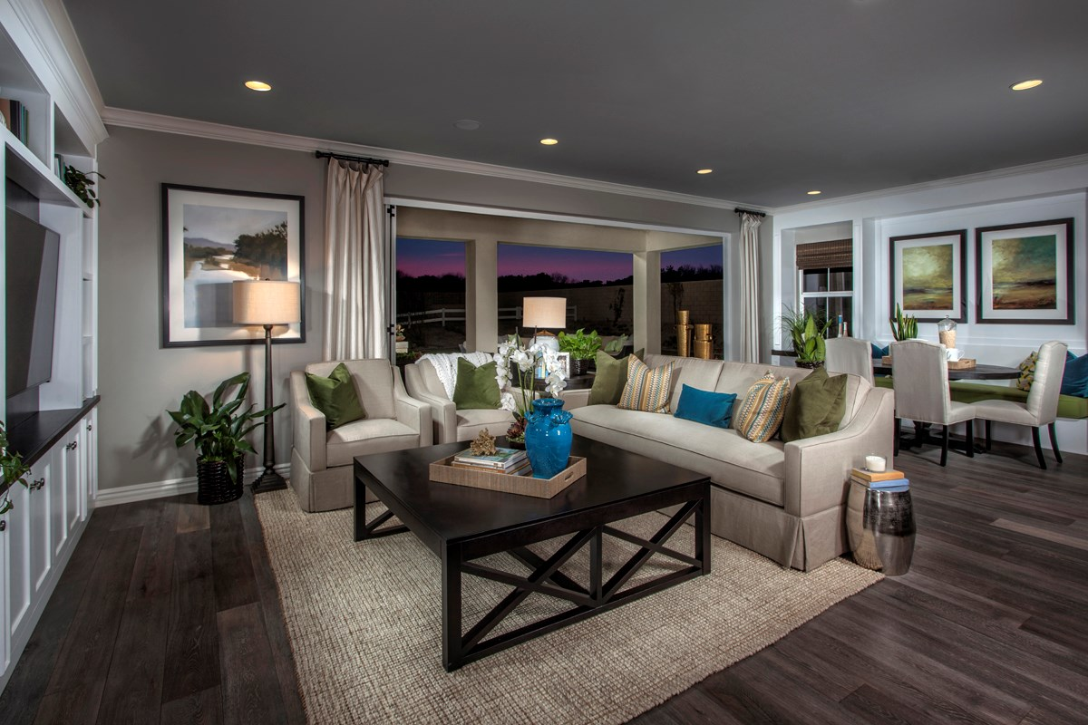 New Homes in Rancho Cucamonga, CA - La Ventana Residence 4506 - Great Room doors open