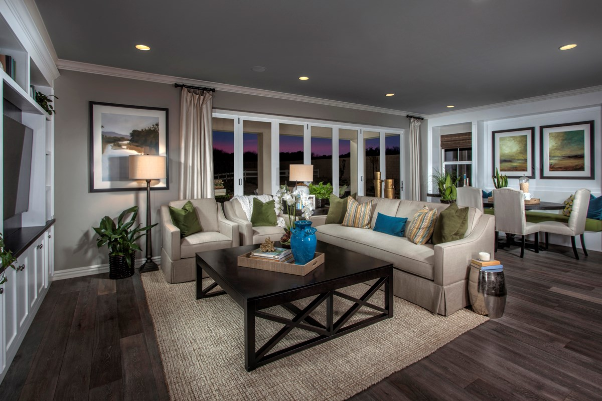 New Homes in Rancho Cucamonga, CA - La Ventana Residence 4506 - Great Room doors closed