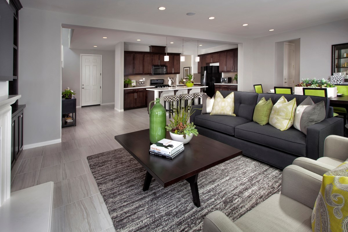 New Homes in Riverside, CA - Mission Gate at Spring Mountain Ranch Residence Five Great Room
