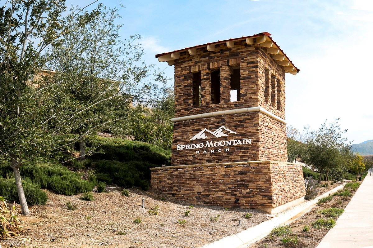 New Homes in Riverside, CA - Monterey at Spring Mountain Ranch Entry Monument