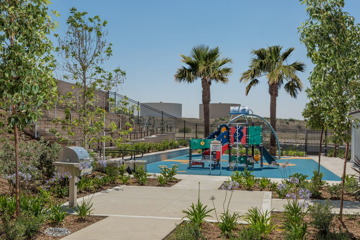 New Homes in Upland, CA - Springtime at Harvest Rec Center - BBQ & Play Area