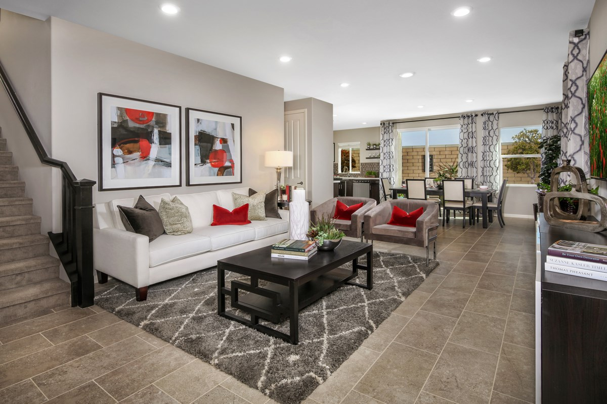 New Homes in Upland, CA - Springtime at Harvest Residence Three - Great Room