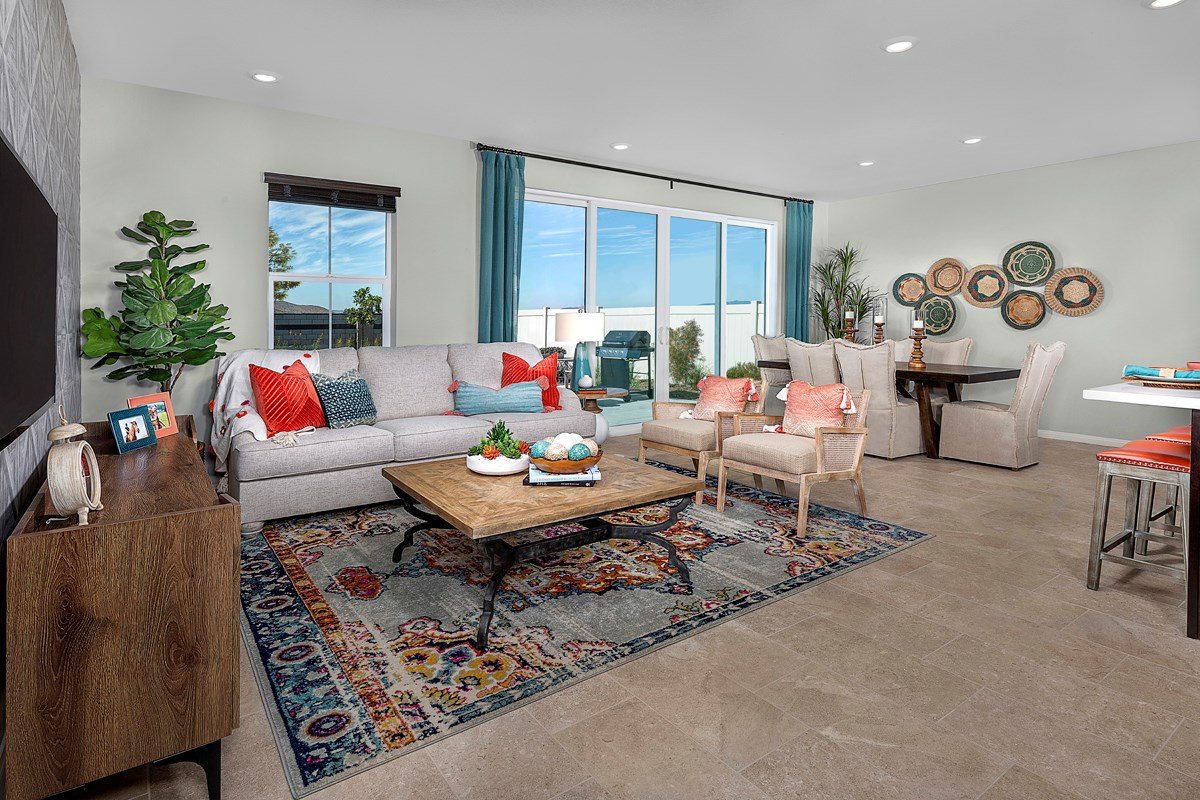 New Homes in Menifee, CA - Talavera Residence Two - Great Room (Sliding Glass Closed)