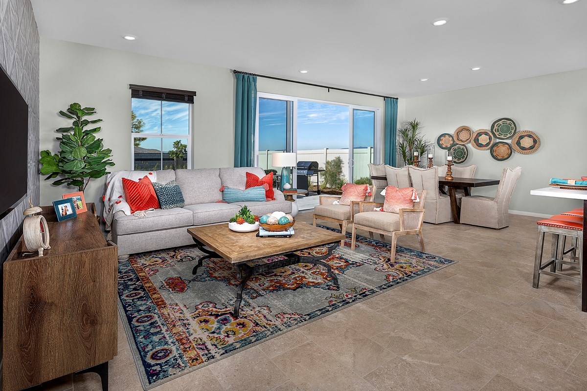 New Homes in Menifee, CA - Talavera Residence Two - Great Room (Sliding Glass Open)