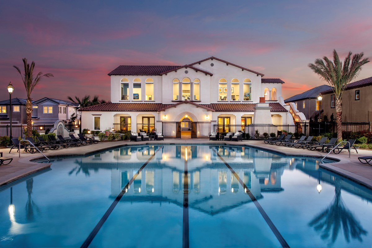 New Homes in Eastvale, CA - Symmetry at The Lodge Community Pool and Recreation Center