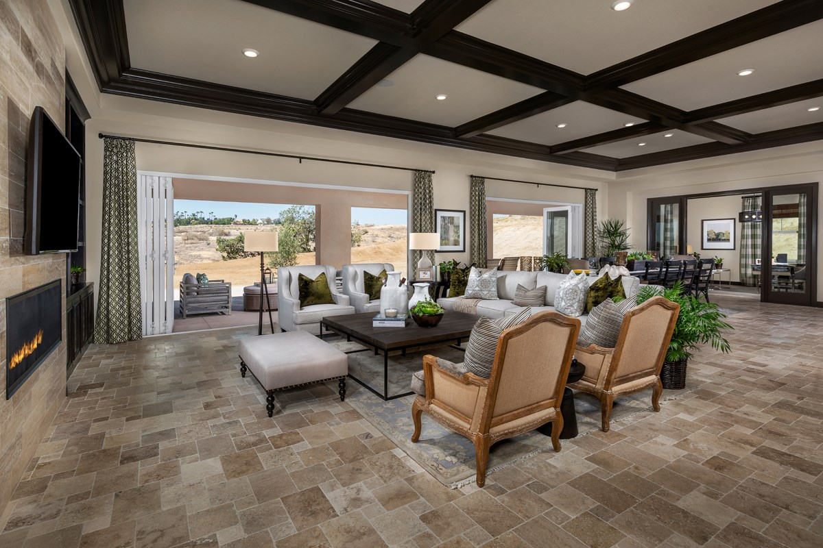 New Homes in Riverside , CA - The Trails at Mockingbird Canyon Residence 4011 - Great Room, Doors Closed