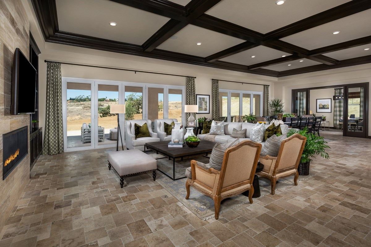 New Homes in Riverside , CA - The Trails at Mockingbird Canyon Residence 4011 - Great Room, Doors Opened