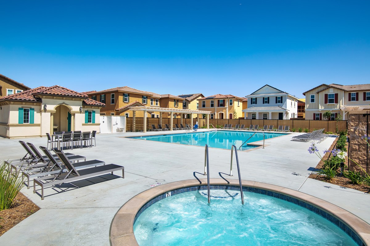 New Homes in Chino, CA - Turnleaf Community pool & spa