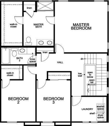 New Homes in Stockton, CA - Plan 1790, Second Floor