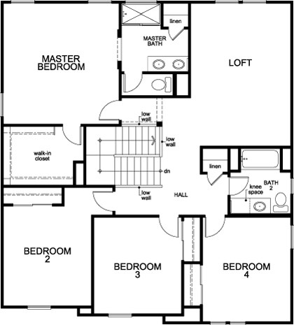 New Homes in Stockton, CA - Plan 2674, Second Floor