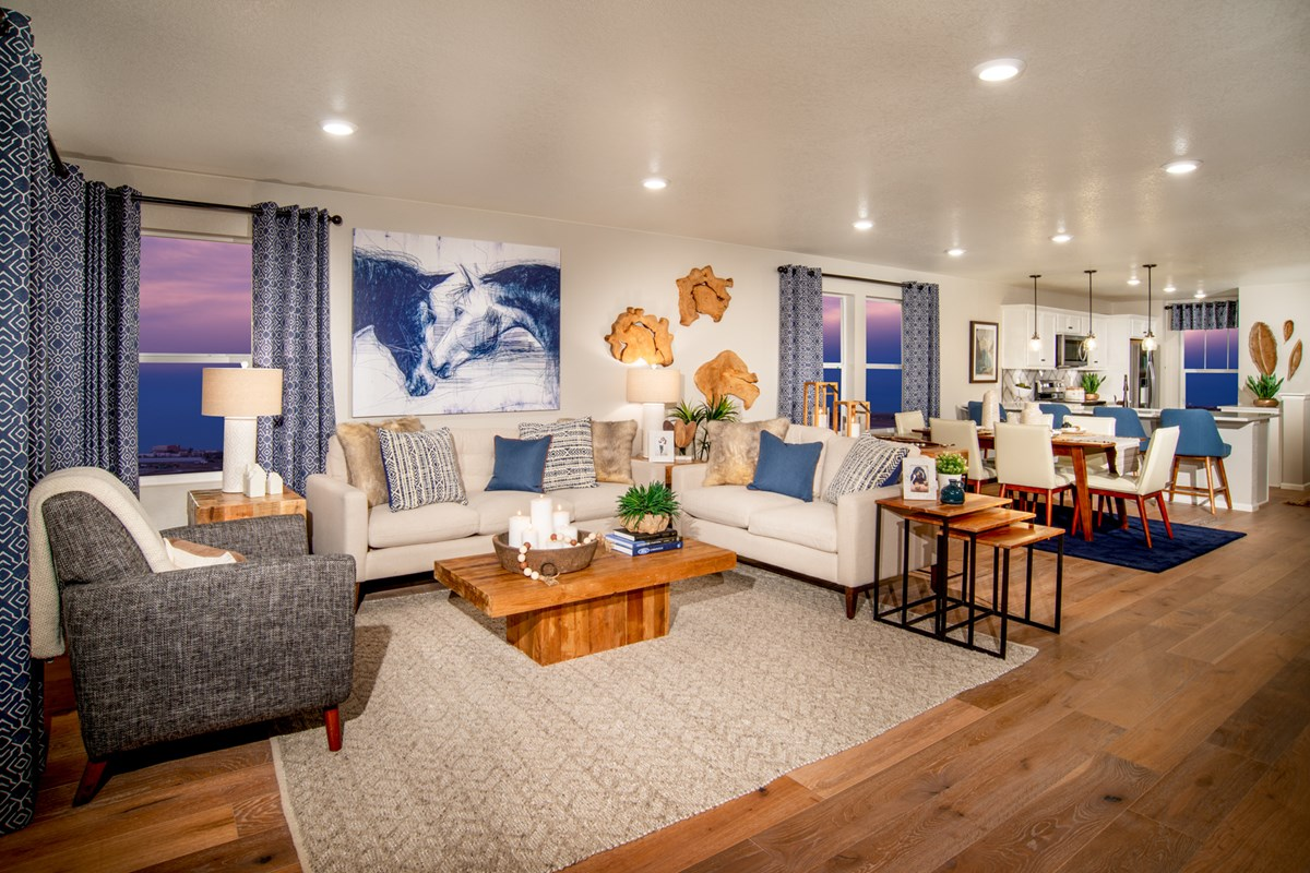 New Homes in Aurora, CO - Sky Ranch Aspire - Great Room as modeled at The Lakes at Centerra