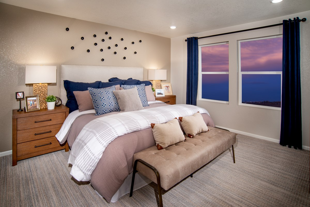 New Homes in Aurora, CO - Sky Ranch Aspire - Master Bedroom as modeled at The Lakes at Centerra