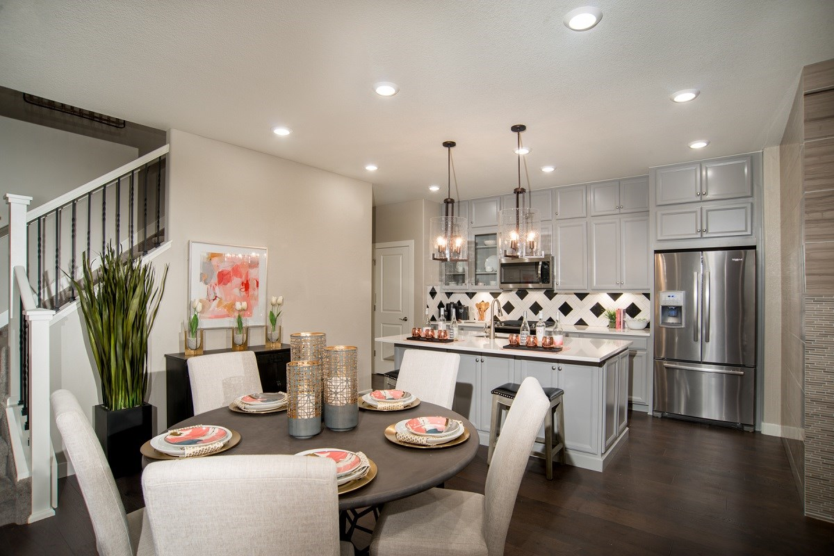 New Homes in Aurora, CO - Highland Villas Willow Dining Room & Kitchen