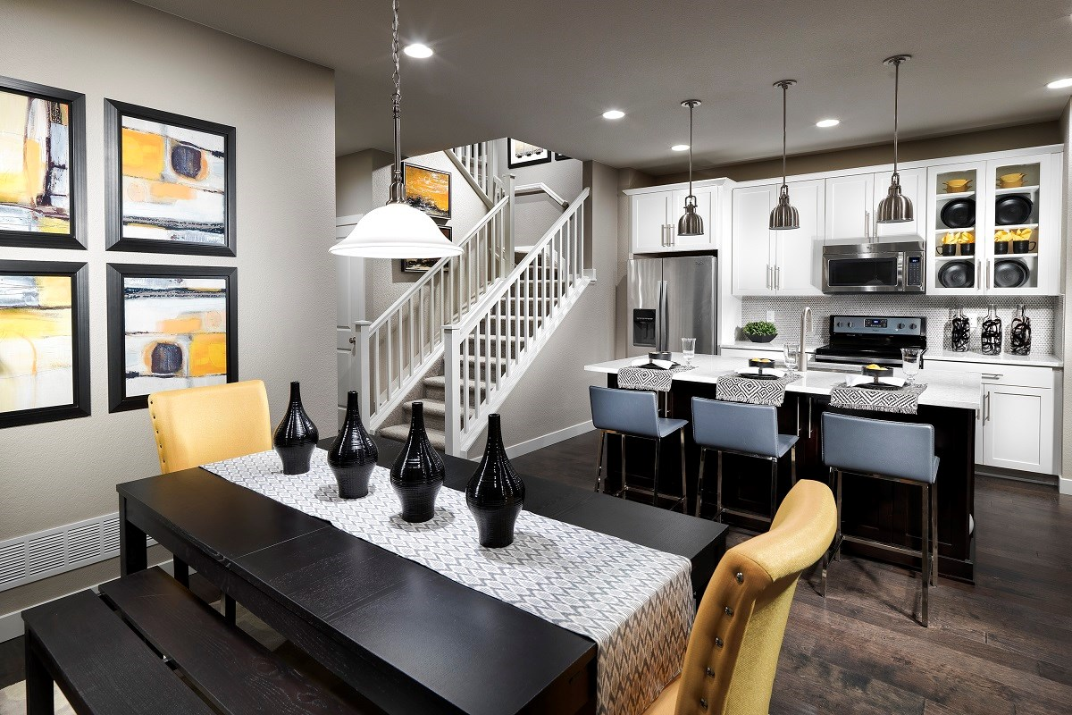 New Homes in Broomfield, CO - The Villas at North Park Cypress Dining Room and Kitchen