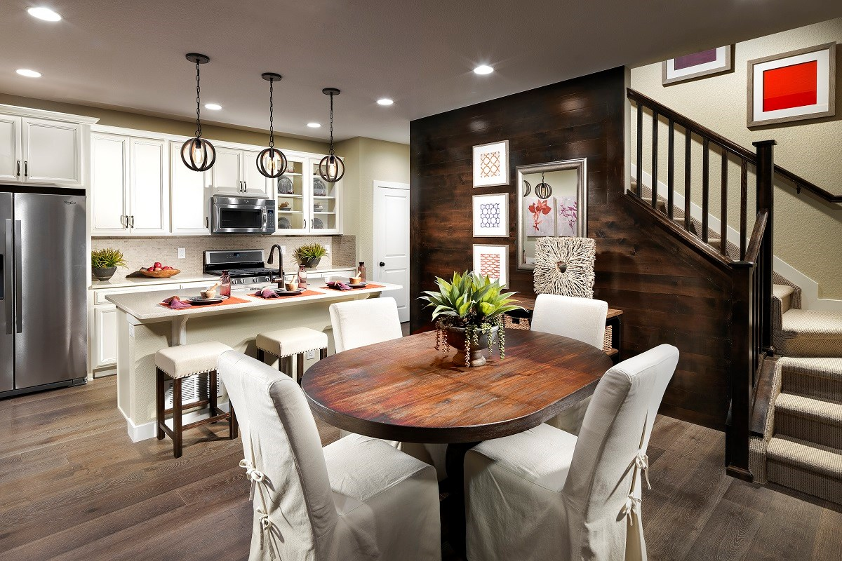 New Homes in Broomfield, CO - The Villas at North Park Willow Dining Room and Kitchen
