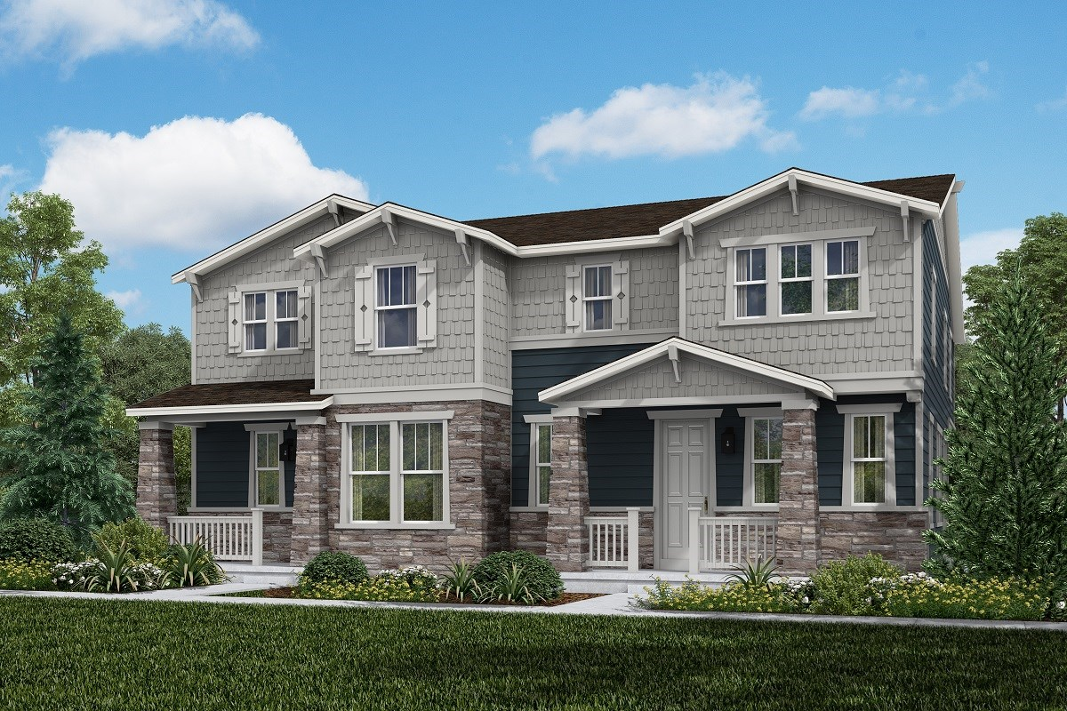 New Homes in Aurora, CO - Painted Prairie Villas Walnut + Redwood: Craftsman Style