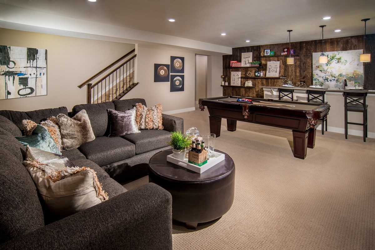 New Homes in Castle Rock, CO - Siena Crestview Finished Basement Rec Room