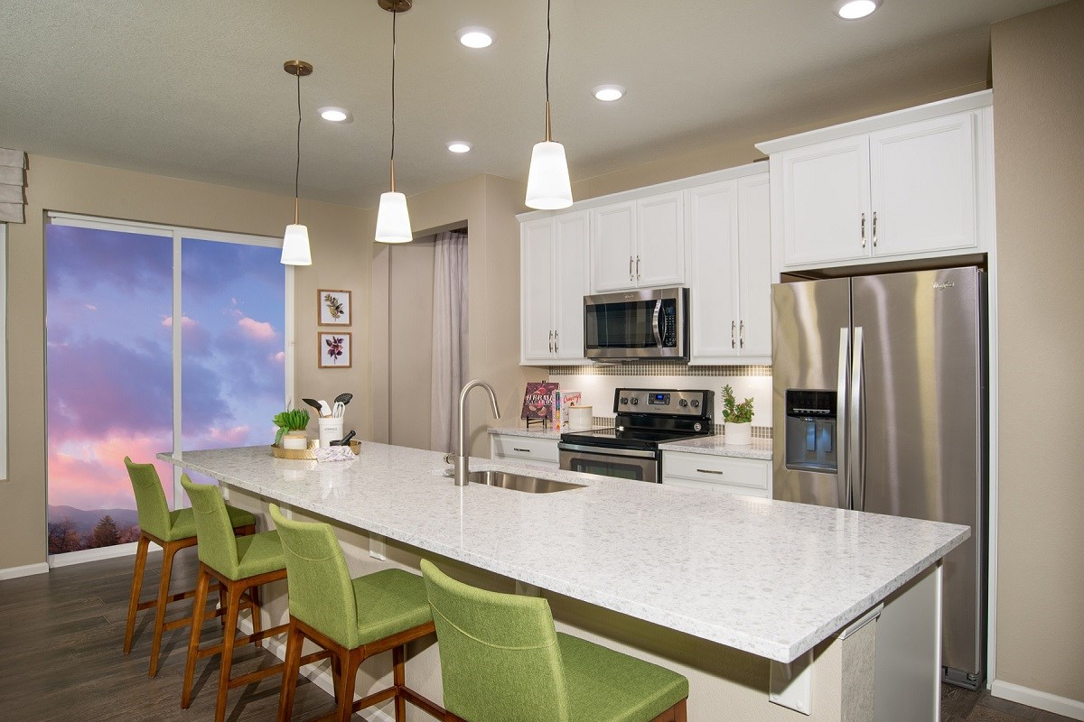New Homes in Aurora, CO - Stapleton Villa Collection at Bluff Lake Hemlock Kitchen