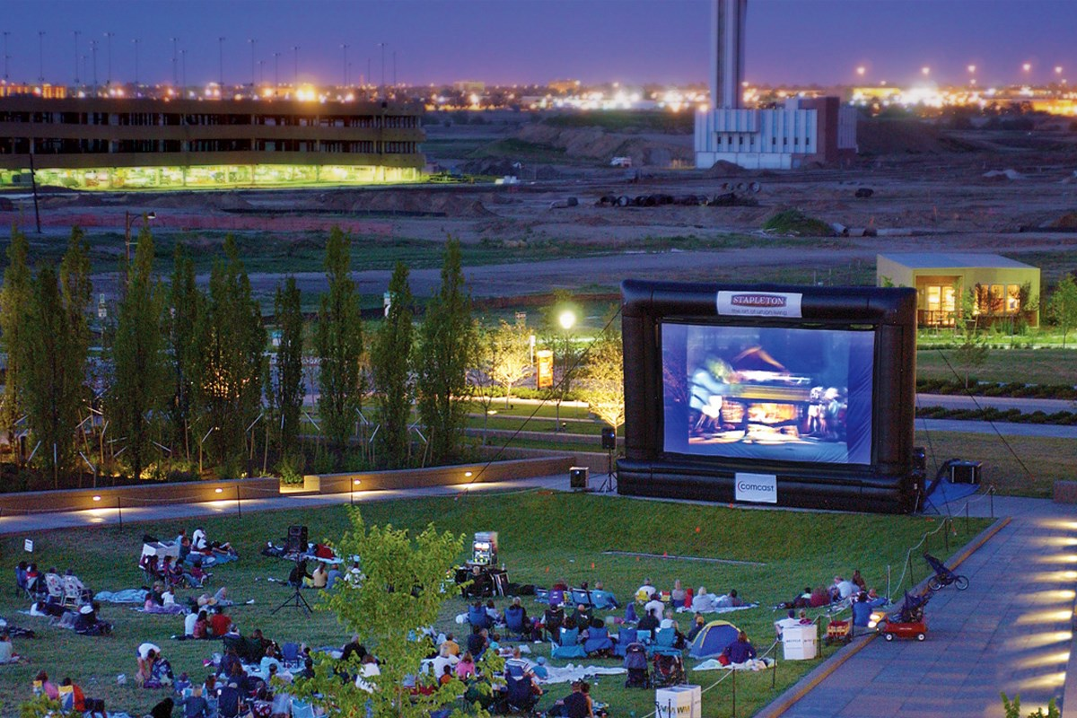 New Homes in Denver, CO - Stapleton Paired Homes - Villa Collection Movie night on the green in the park