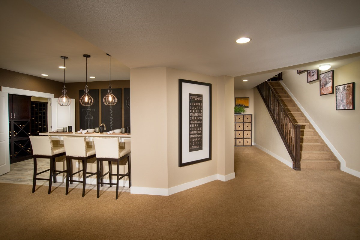 New Homes in Aurora, CO - The Estates at Ponderosa Ridge Finished Basement Bar & Wine Cellar