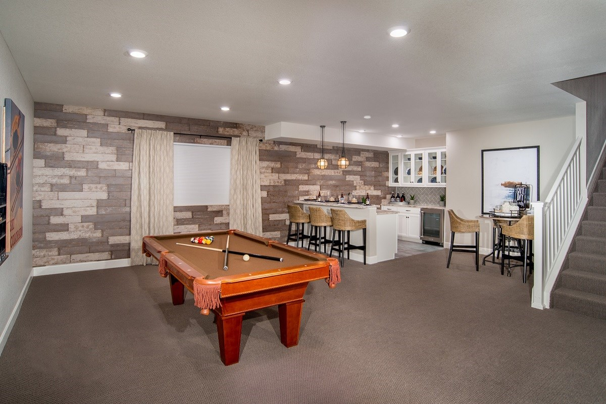 New Homes in Castle Rock, CO - Panorama at The Meadows Hawthorn Finished Basement Rec Room