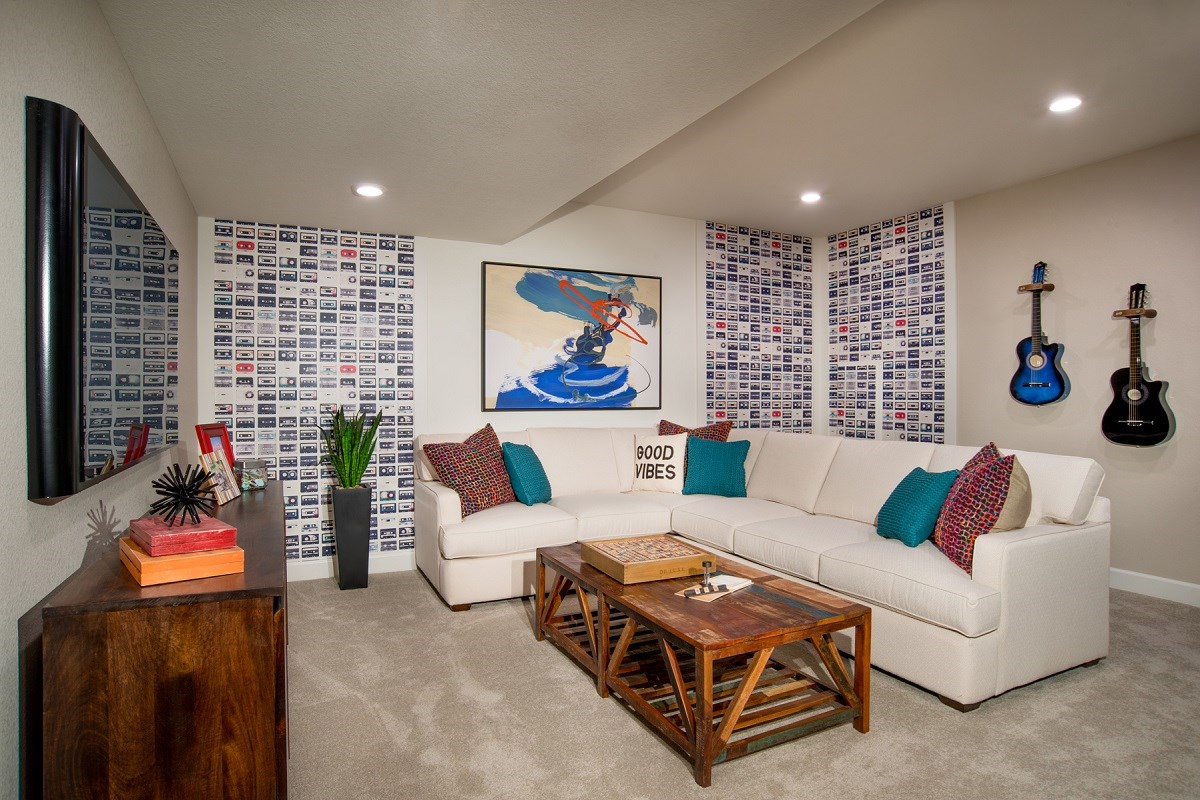 New Homes in Aurora, CO - The Villas at Copperleaf Redwood Basement Rec Room
