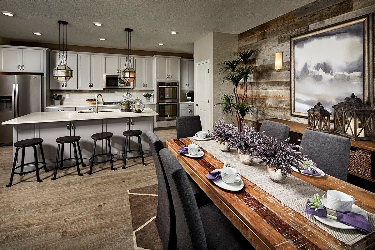 New Homes in Castle Rock, CO - The Villas at The Meadows Walnut Kitchen + Dining Room