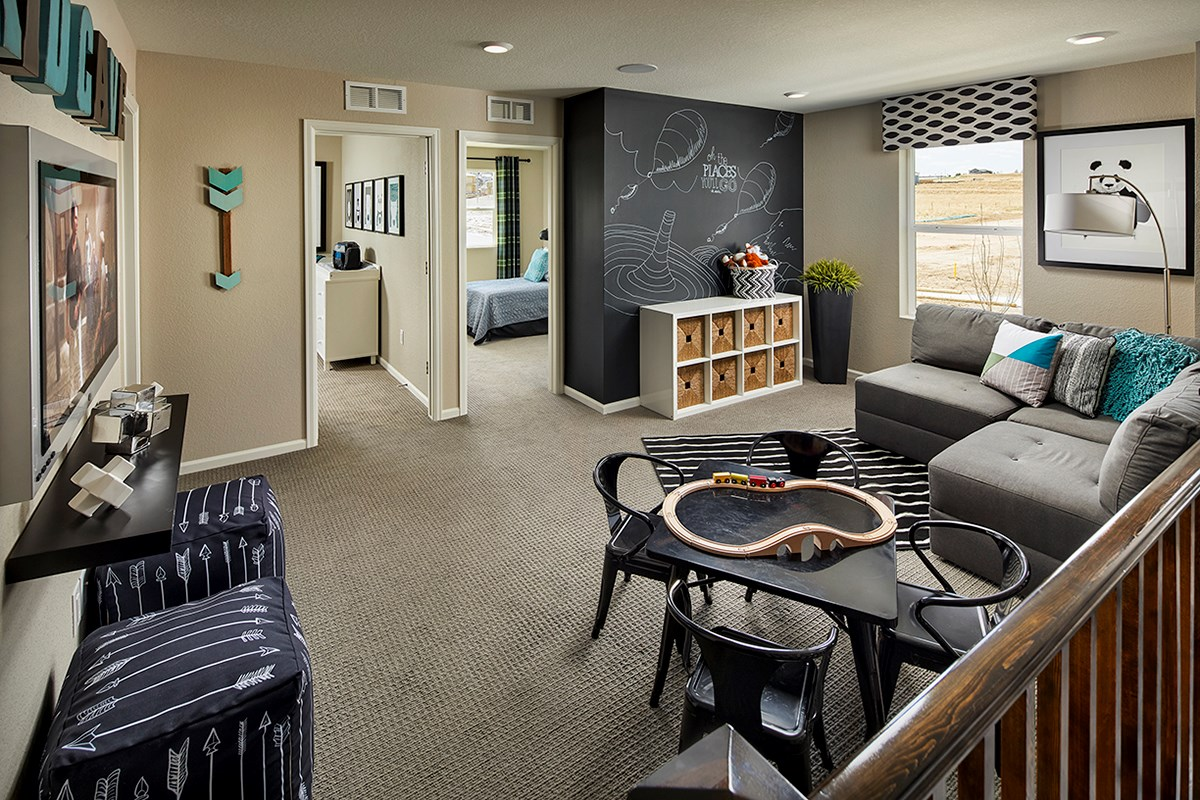 New Homes in Castle Rock, CO - Meadows Villas Willow Loft -Game and Media Area