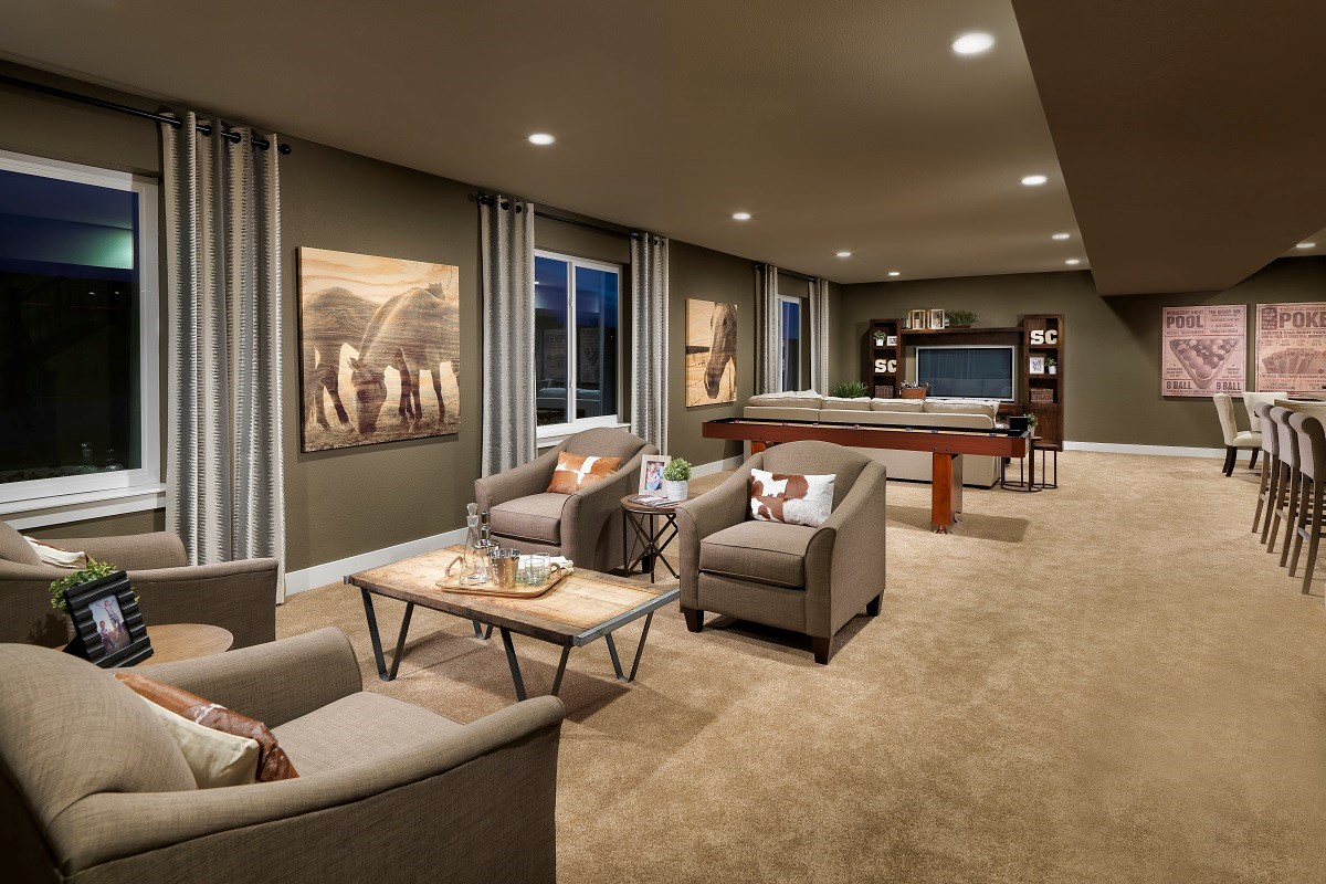 New Homes in Thornton, CO - The Estates at Trailside Avana 2293 Basement Bar and Rec Area