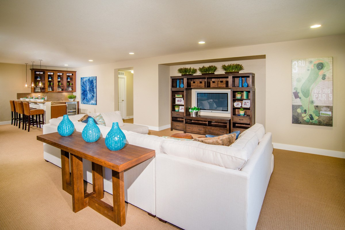New Homes in Thornton, CO - The Reserve at Trailside Chaucer Basement Rec and Media Area