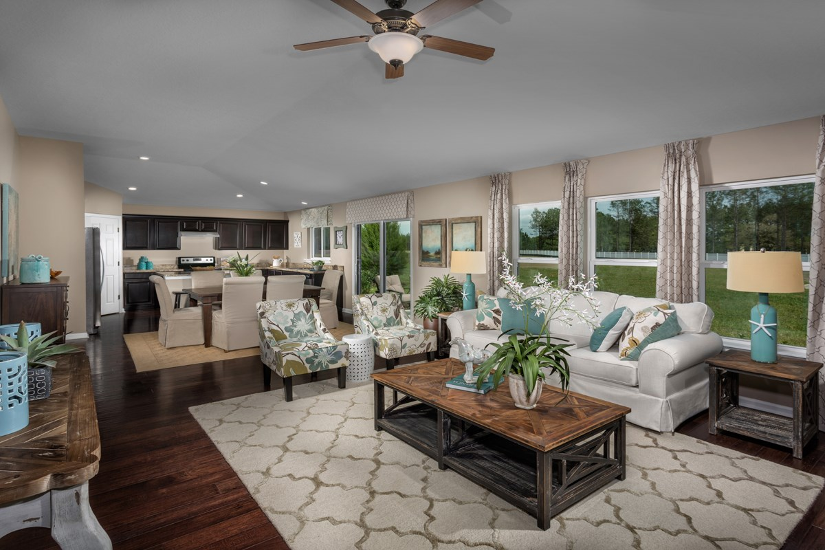 New Homes in Orange Park , FL - Forest Hammock at Oakleaf Plantation The Captiva Great Room