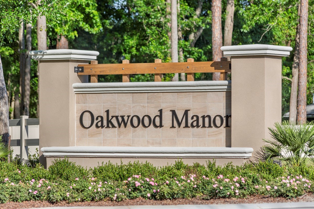 New Homes in Jacksonville, FL - Oakwood Manor Entry Monument