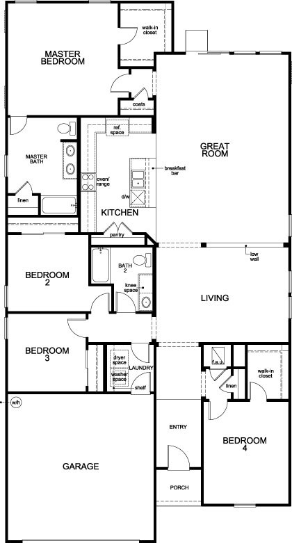 New Homes in Jacksonville, FL - The Lennon, First Floor