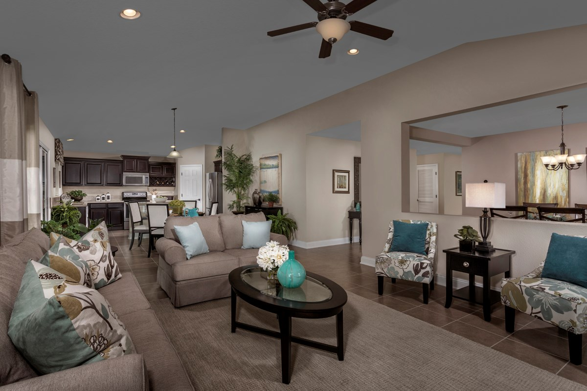 New Homes in Jacksonville, FL - Wyndham Place The Sutton Great Room as modeled at Westland Oaks